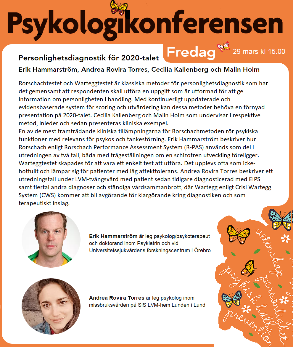 Rorschach och Wartegg på Psykologikonferensen 2019